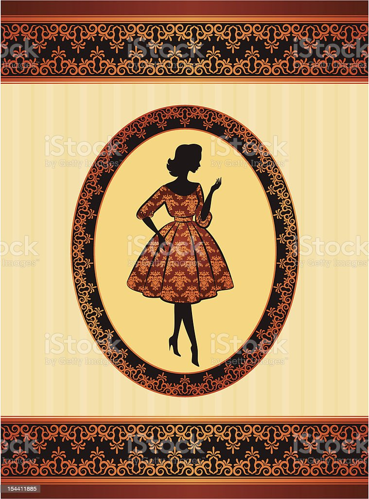 Vintage silhouette of girl on ornament background. Vector royalty-free stock vector art