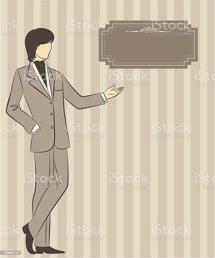 Vintage silhouette of man.Vector royalty-free stock vector art