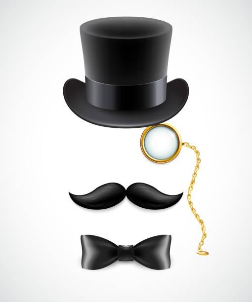 vintage silhouette zylinder, mustaches und monokel und fliege - zylinder stock-grafiken, -clipart, -cartoons und -symbole