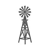 Vintage silhouette windmill graphic object illustration.