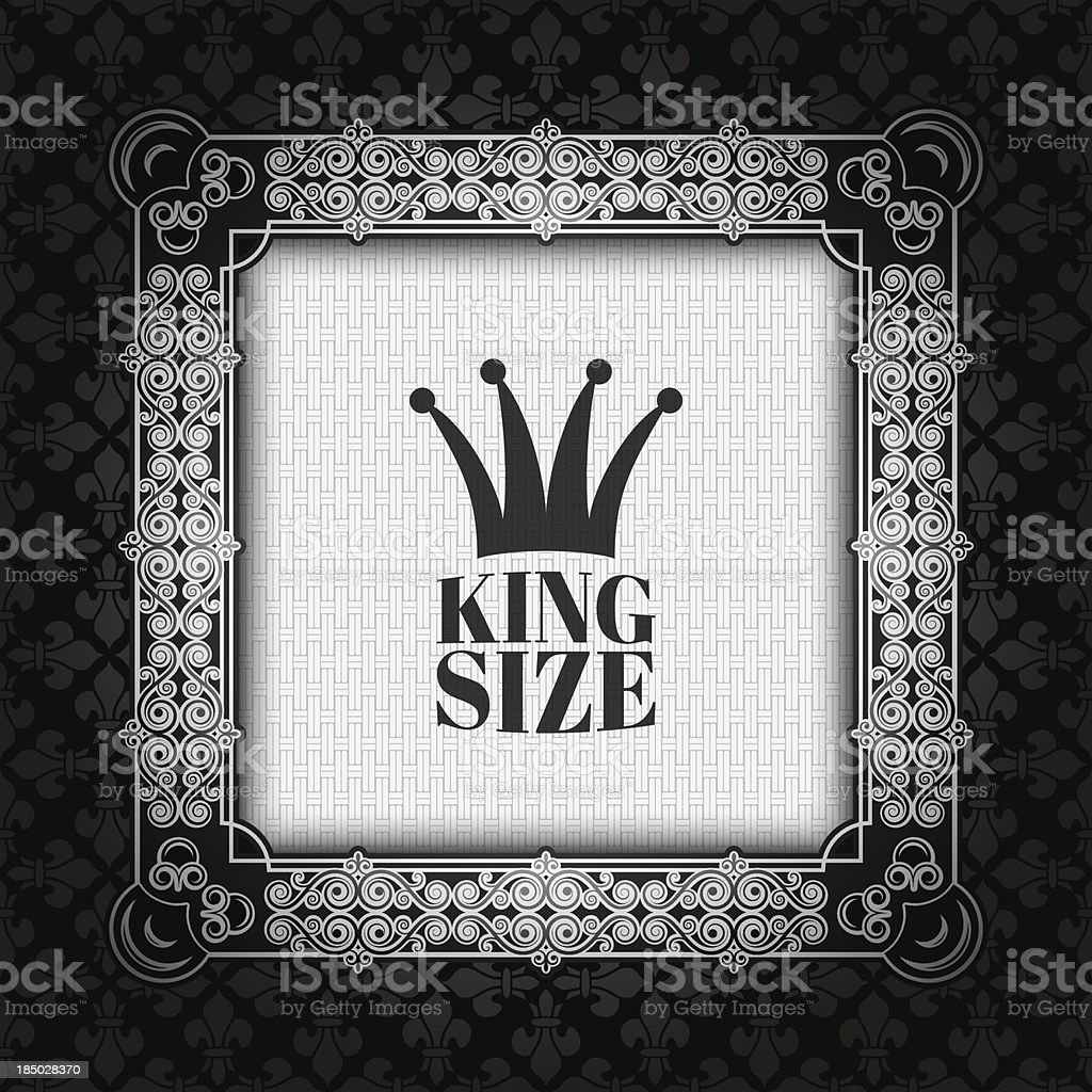 vintage silver royal frame vector art illustration