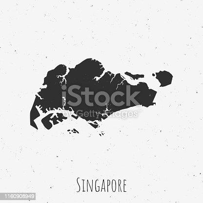 istock Vintage Singapore map with retro style, on dusty white background 1160908949