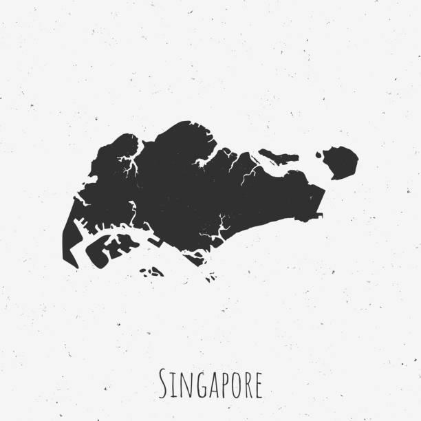 stockillustraties, clipart, cartoons en iconen met vintage singapore kaart met retro stijl, op stoffige witte achtergrond - singapore
