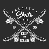 Vintage skateboarding monochrome label concept with crossed longboards and inscriptions isolated vector illustration