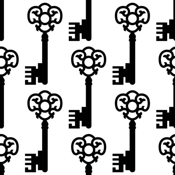 skelett schlüssel nahtlose muster im vintage-look - schlüsselfertig stock-grafiken, -clipart, -cartoons und -symbole