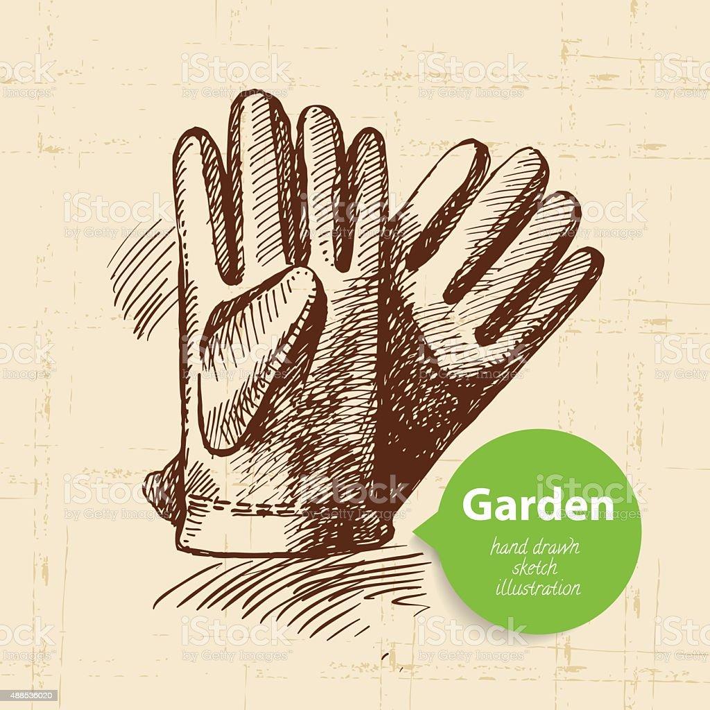 Vintage sketch garden background. Hand drawn design vector art illustration