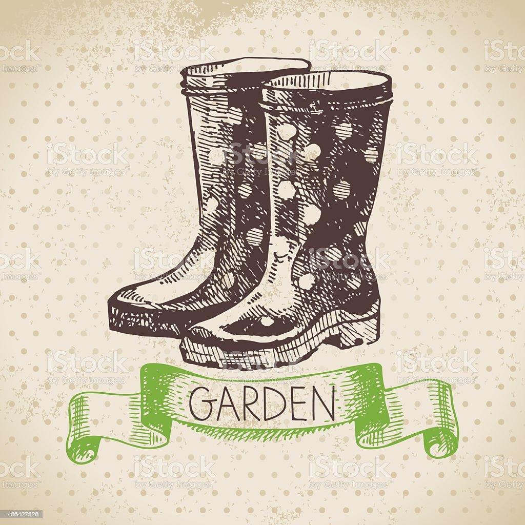 Vintage sketch gardening background. Hand drawn design vector art illustration