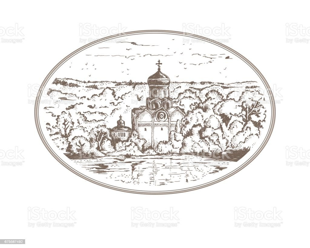 Vintage sketch illustration Russian Christian Orthodox church in the village. Panorama landscape with an old temple and a chapel in thicket of trees, sky above the horizon in oval frame vintage sketch illustration russian christian orthodox church in the village panorama landscape with an old temple and a chapel in thicket of trees sky above the horizon in oval frame – cliparts vectoriels et plus d'images de christianisme libre de droits