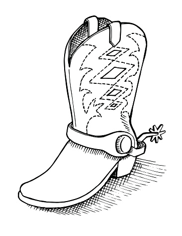 Vintage Sketch of a Cowboy Boot with Spur.