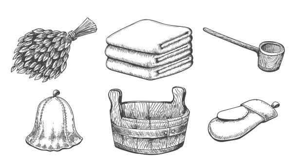 stockillustraties, clipart, cartoons en iconen met uitstekende schetssaunapunten - sauna