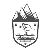 vintage skiing label badge and design elements
