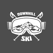 Vintage ski symbol, emblem and design elements. Retro design of monochrome badge. Winter sports collection