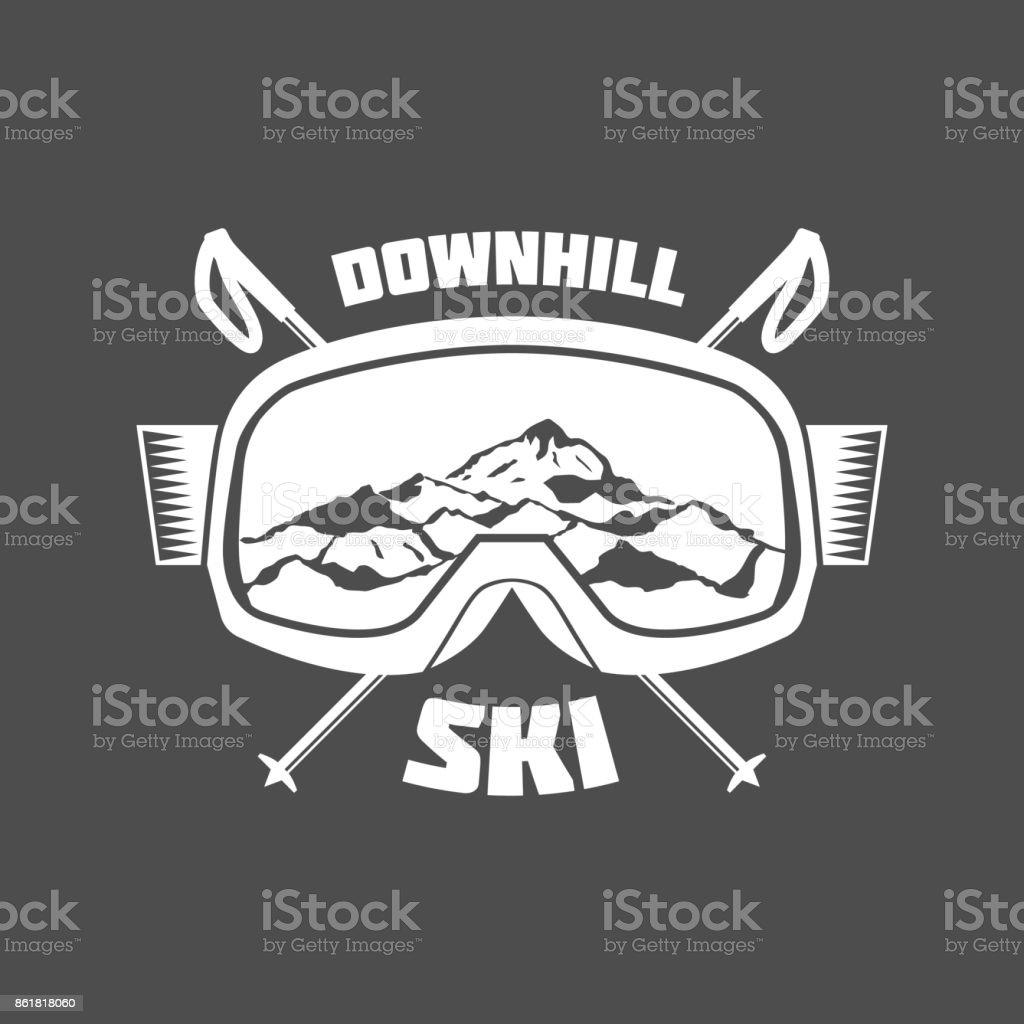 vintage skiing labels and design elements vector art illustration