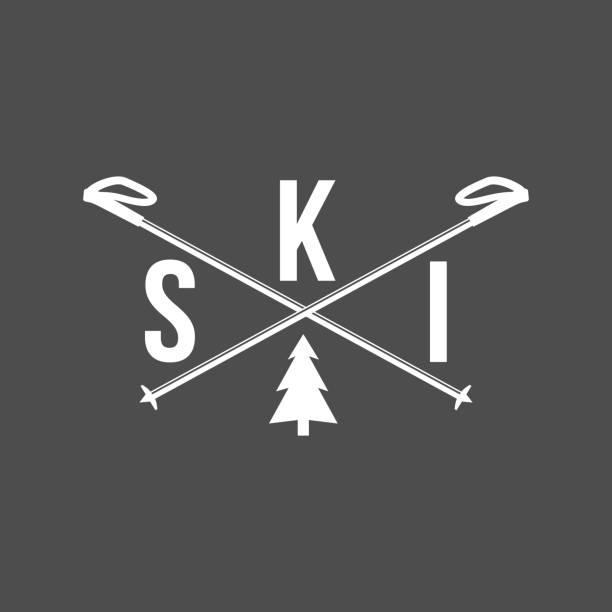 illustrazioni stock, clip art, cartoni animati e icone di tendenza di vintage skiing labels and design elements - ski