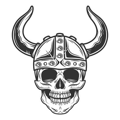 Vintage skull in the viking helmet in monochrome style isolated illustration