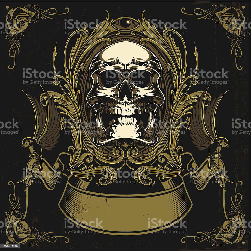 Vintage skull vector art illustration