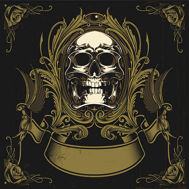 vintage skull - spiked stock illustrations