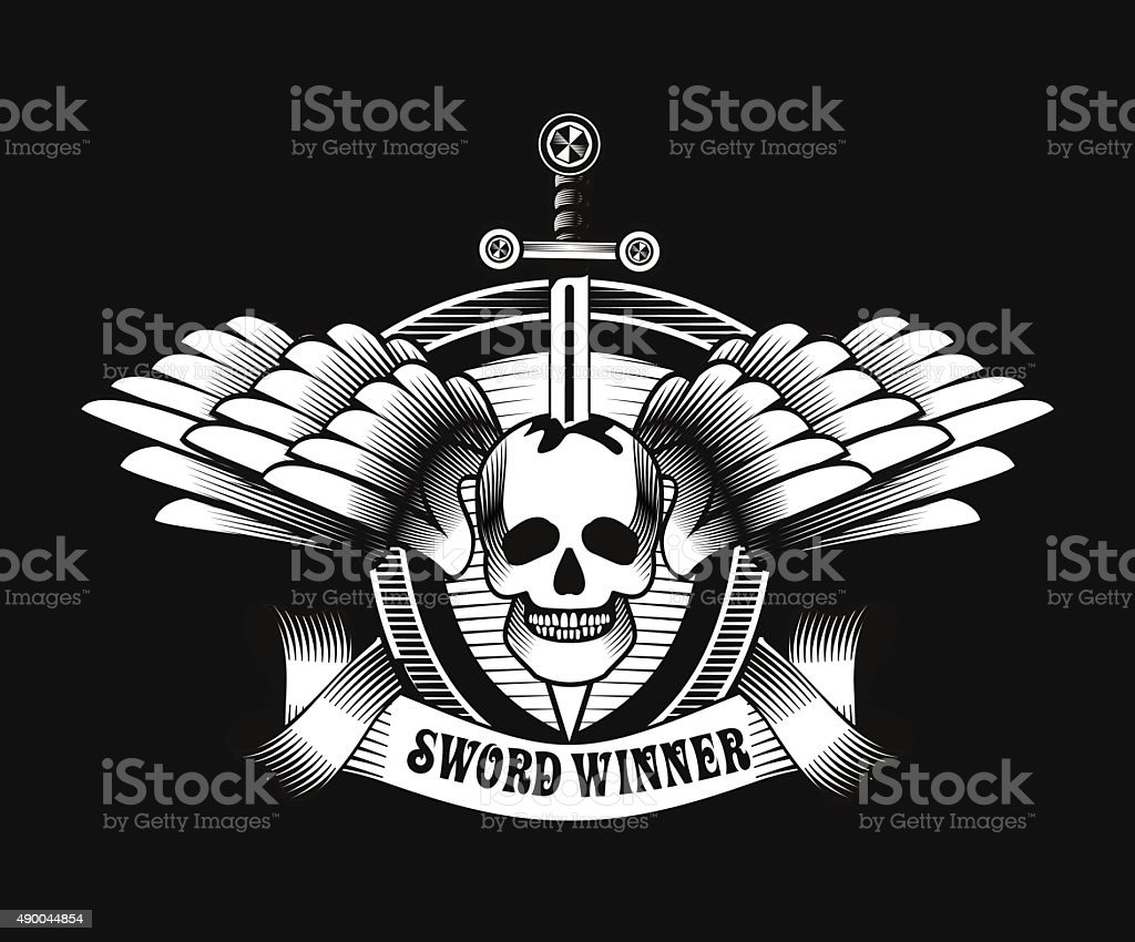 Vintage Skull With Sword And Wings Emblem Stock Vector Art More