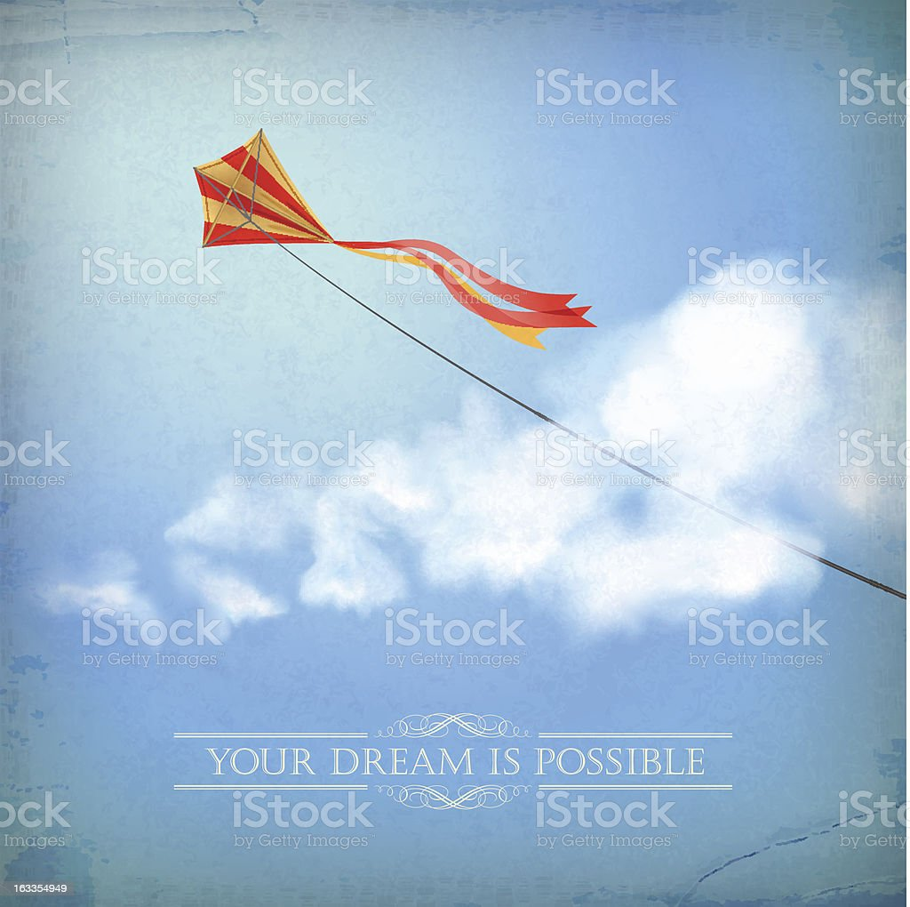 Vintage sky old paper background with cloud, text royalty-free stock vector art