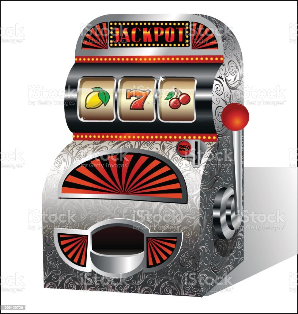 Vintage slot machine. Vector illustration. vector art illustration