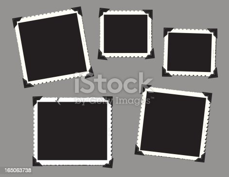 Vintage snap shot frames with corner tabs in a horizontal format.