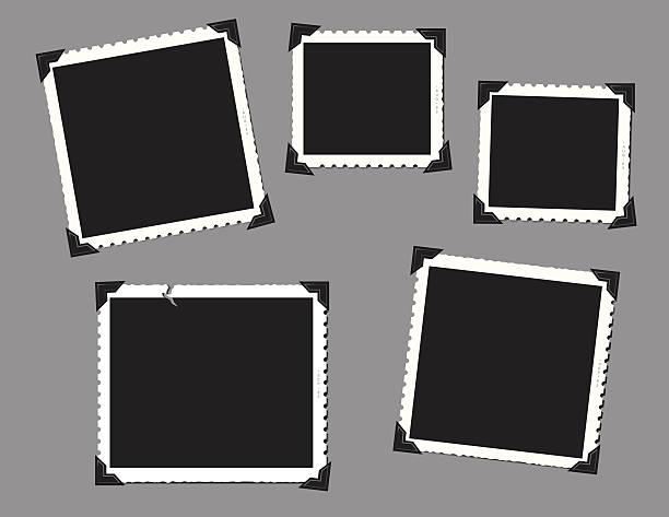Vintage snap shots with corner tabs Vintage snap shot frames with corner tabs in a horizontal format. photo album stock illustrations