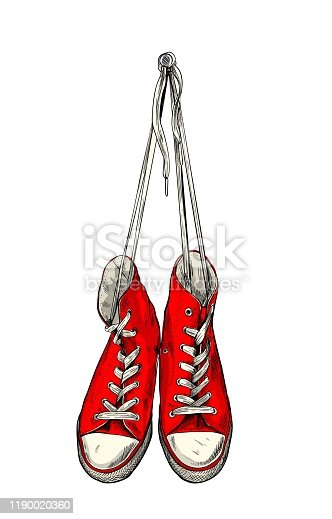 Red vintage sneakers hanging on the wall, hand drawn vector illustration