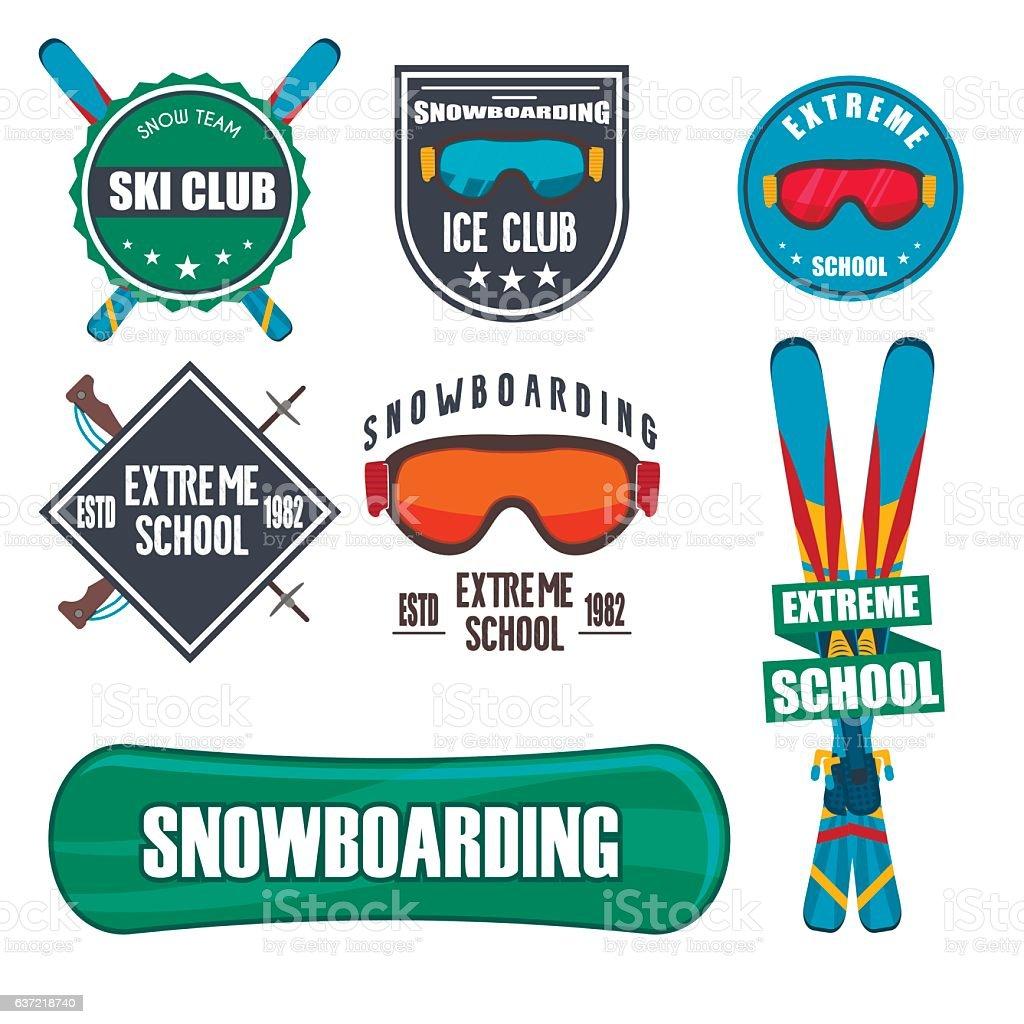 Vintage snowboarding or winter sports badges. vector art illustration