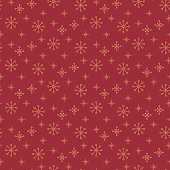 Vintage snowflake simple seamless pattern. Thin line red and gold winter holiday vector pattern.
