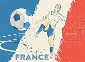 vintage soccer background with scribbled france player on soccer field in national colors