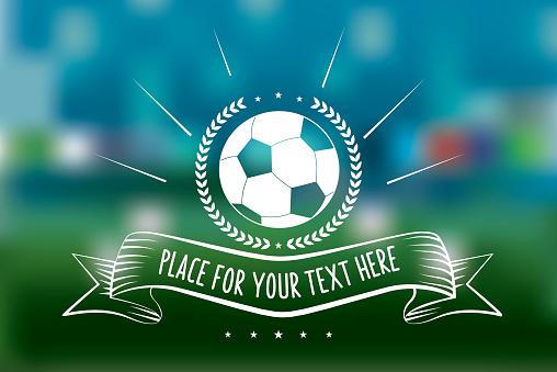 vintage soccer ball line art sign on blurred green background