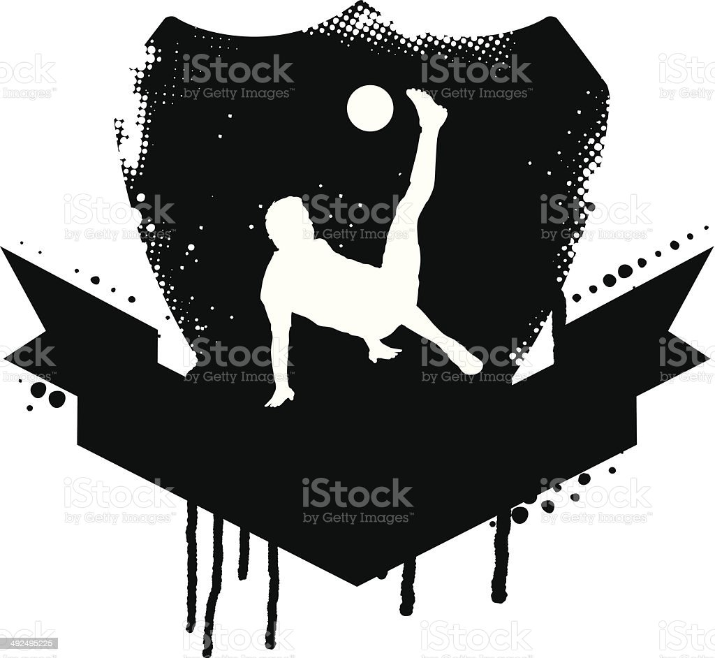 vintage Fußball-shield mit Fallrückzieher – Vektorgrafik
