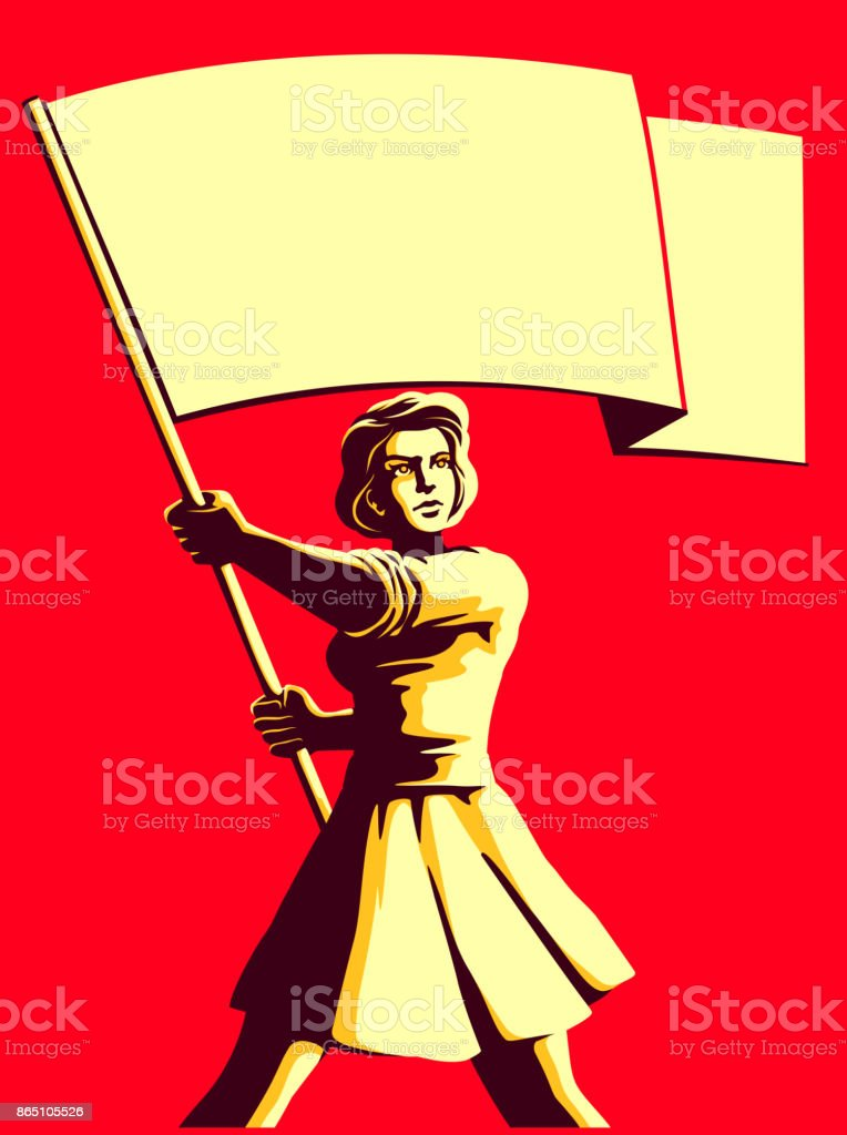 Vintage societ propaganda style patriot woman holding flag vector illustration