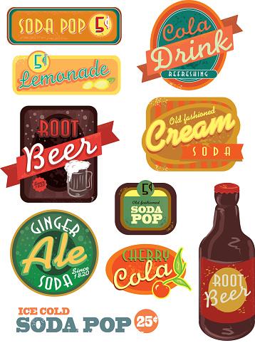 Vintage soda pop label set on white background