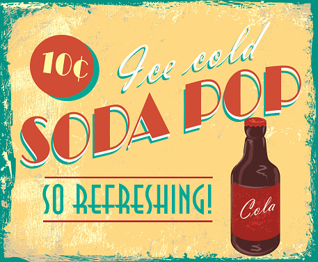Vintage soda pop tin advertisement sign with lot's of texture