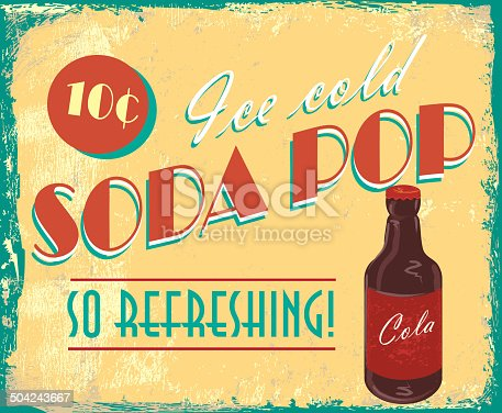 Vintage soda pop tin sign with lot's of texture