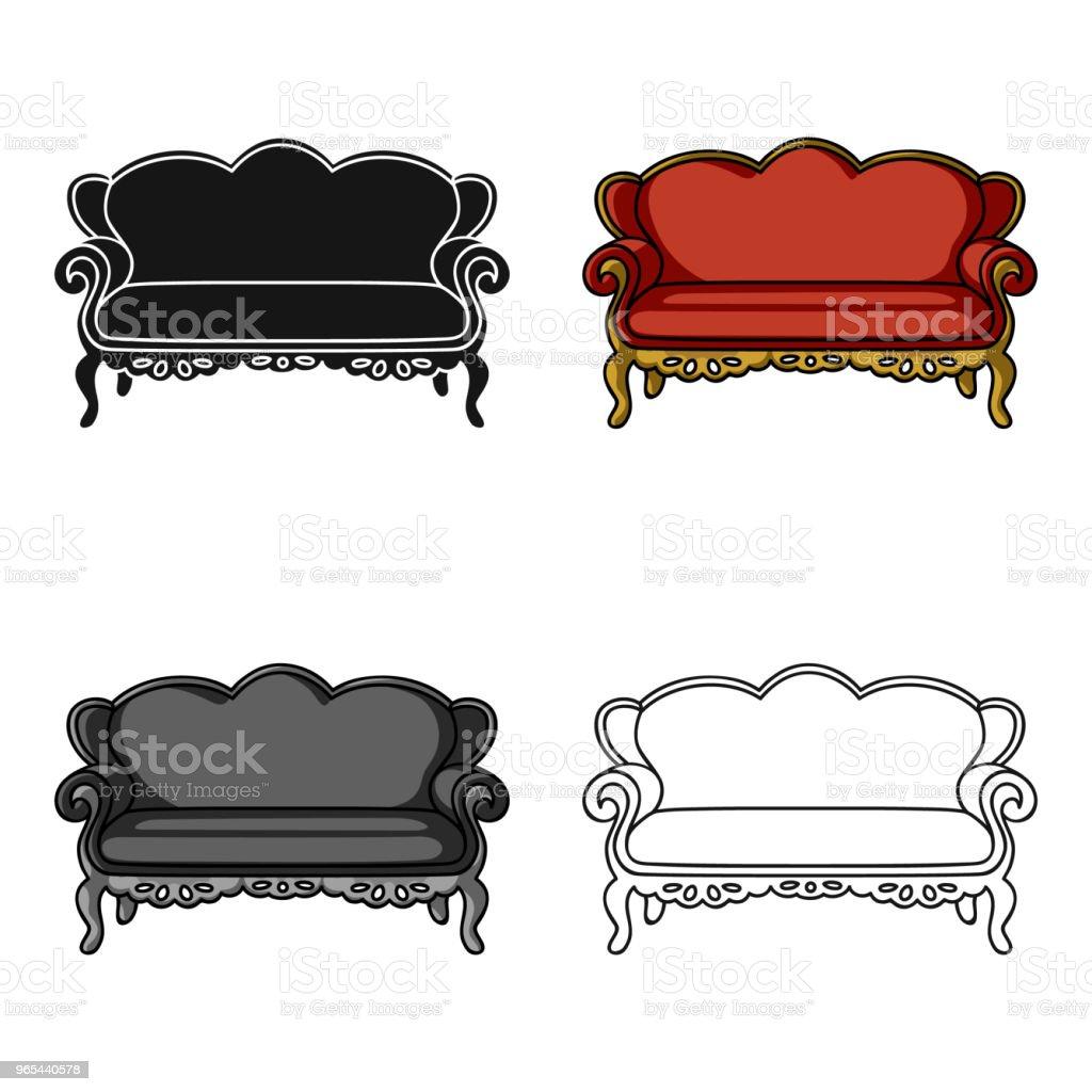 老式沙發圖示的卡通風格, 在白色背景隔離。傢俱和家庭內部符號股票向量 web 插圖。 - 免版稅傢俱圖庫向量圖形