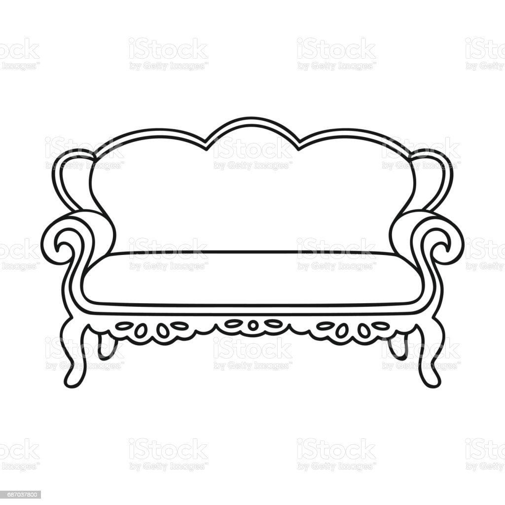 Vintage Sofa Icon In Outline Style Isolated On White Background