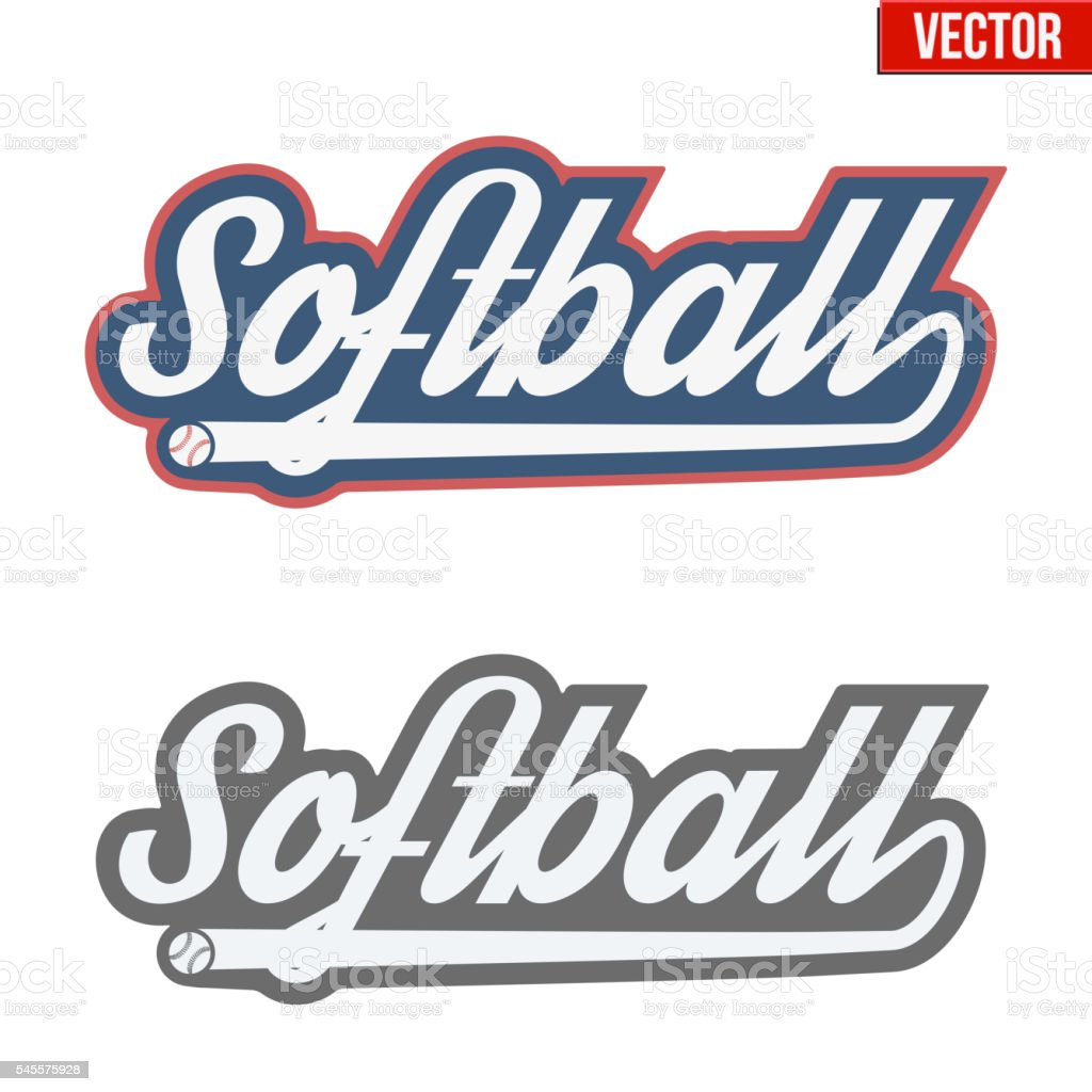 Vintage softball labels and badges vector art illustration