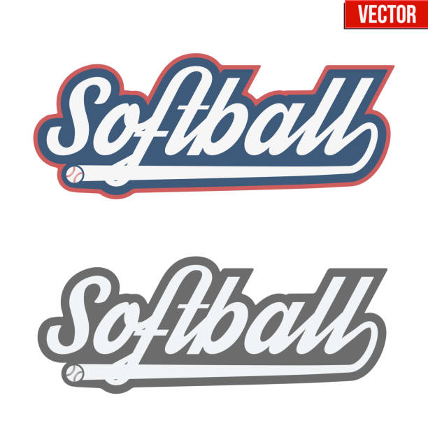 ilustraciones, imágenes clip art, dibujos animados e iconos de stock de vintage softball labels and badges - sófbol
