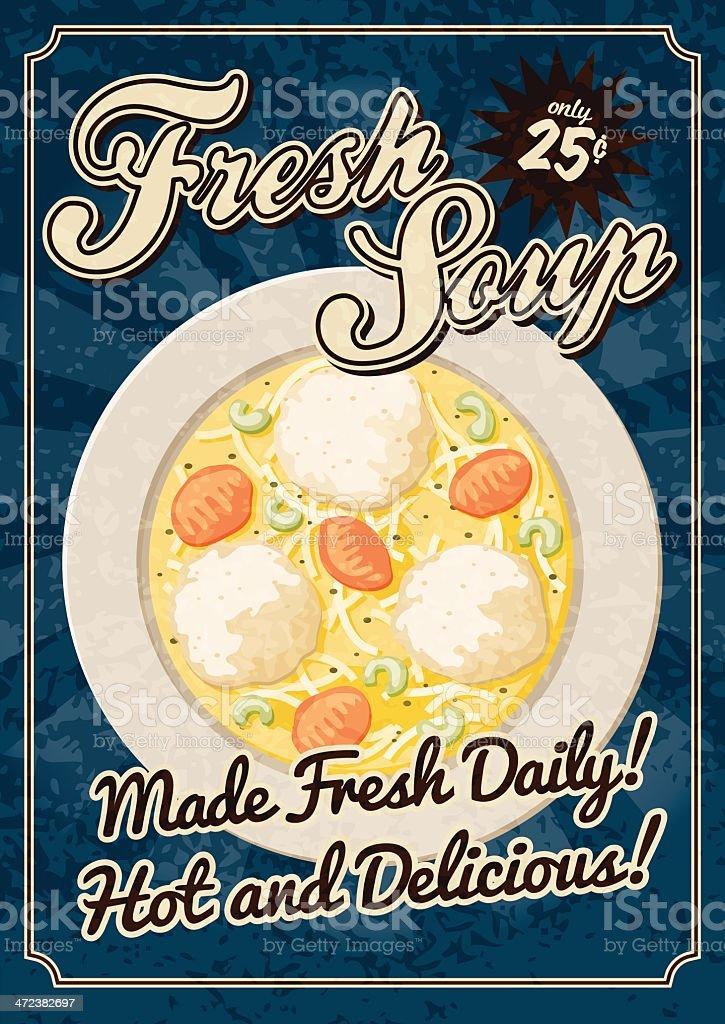Vintage Soup Poster vector art illustration