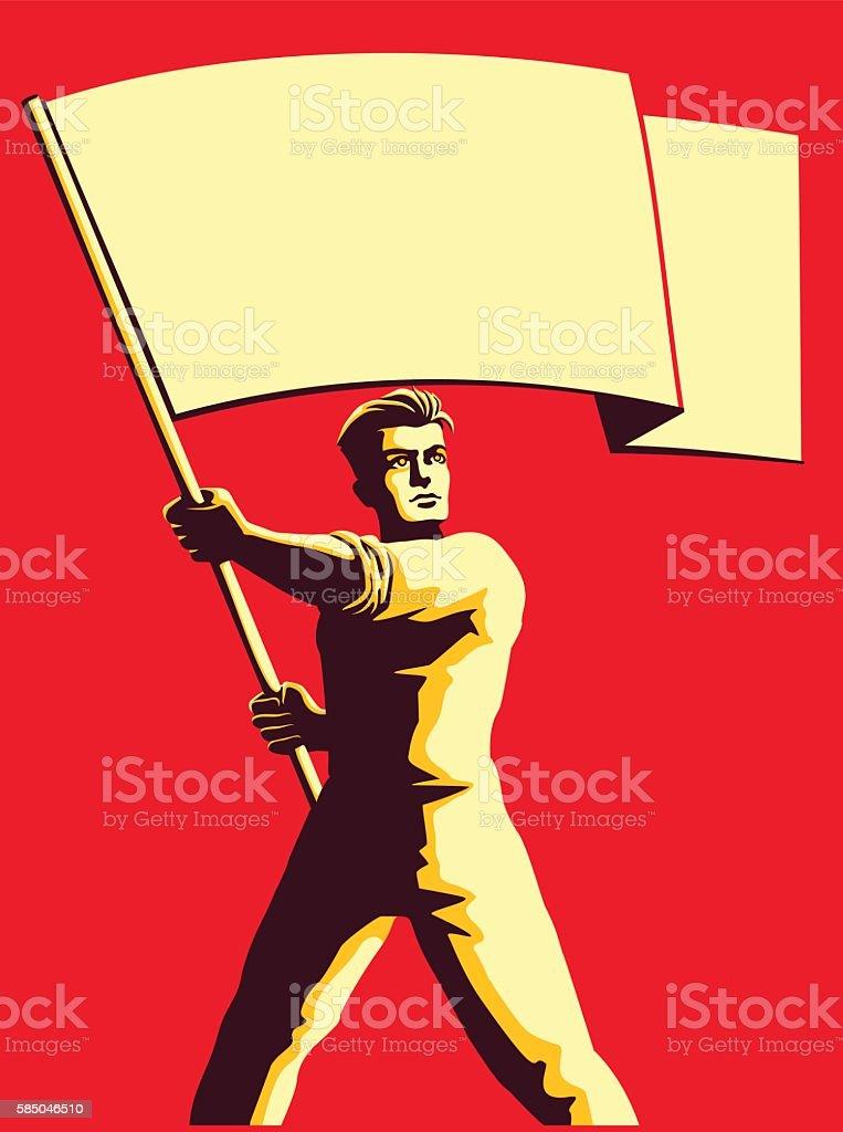 Vintage soviet propaganda style man holding blank flag vector illustration vector art illustration