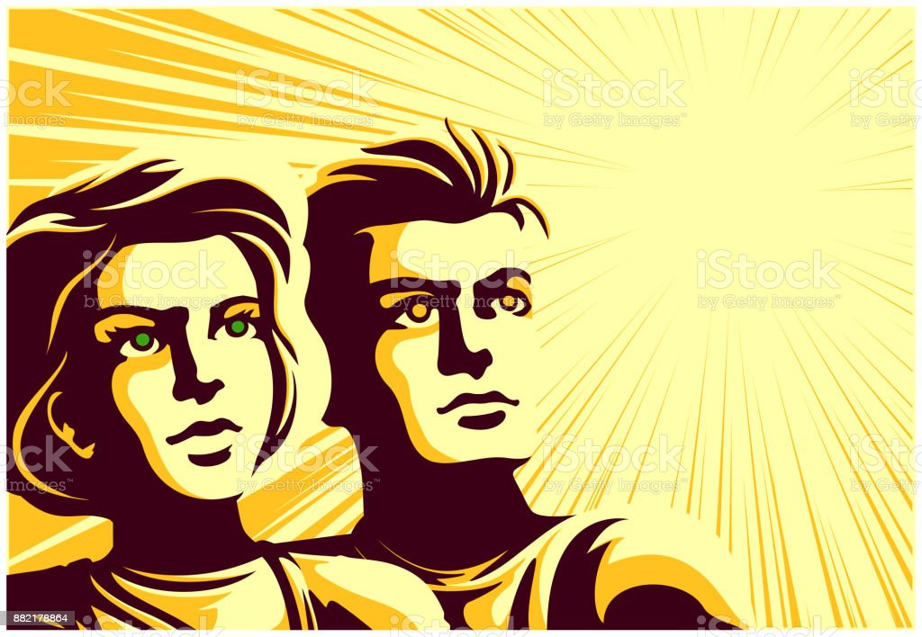 Vintage soviet propaganda style vector illustration of couple looking into the distance with inspired dreamy face expression vector art illustration