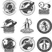 Vintage space, astronautics, shuttle flight vector labels, logos, badges, emblems