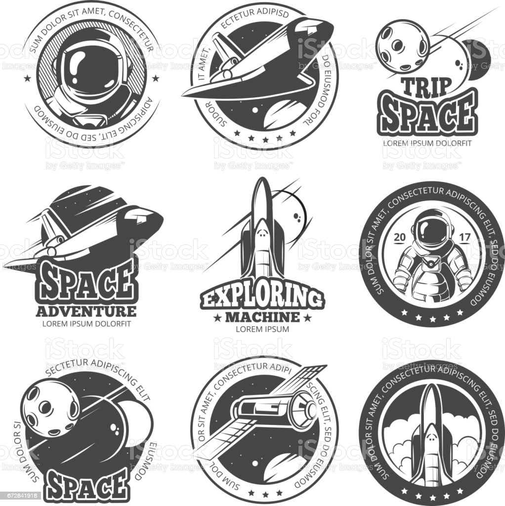 Vintage space, astronautics, shuttle flight vector labels, logos, badges, emblems - illustrazione arte vettoriale