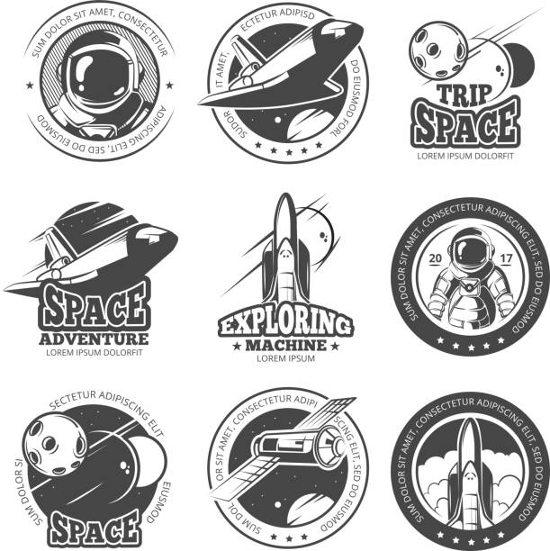 Vintage space, astronautics, shuttle flight vector labels, logos, badges, emblems - illustrazione arte vettoriale