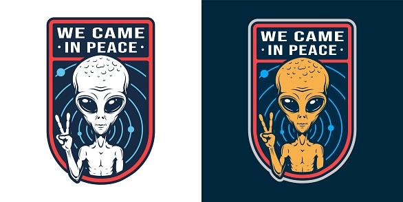 Vintage space colorful badge