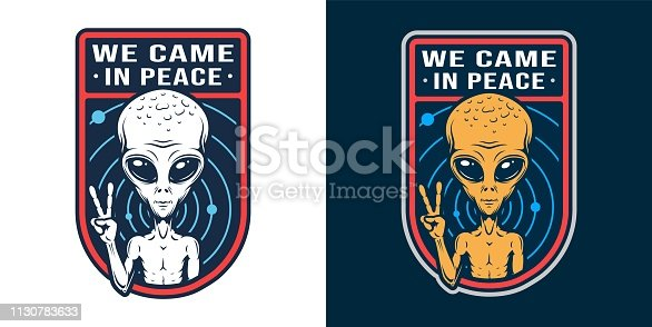 Vintage space colorful badge with extraterrestrial showing peace sign isolated vector illustration