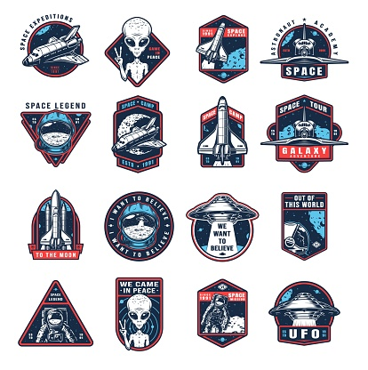 Vintage space colorful labels collection