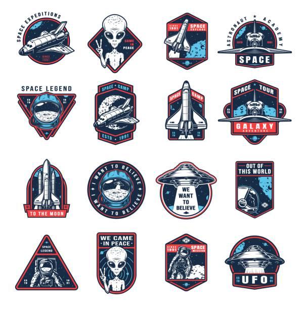 stockillustraties, clipart, cartoons en iconen met vintage space kleurrijke labels collectie - raket ruimteschip